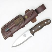 TBS Grizzly Bushcraft Survival Knife - Turkish Walnut - TBS Firesteel Edition